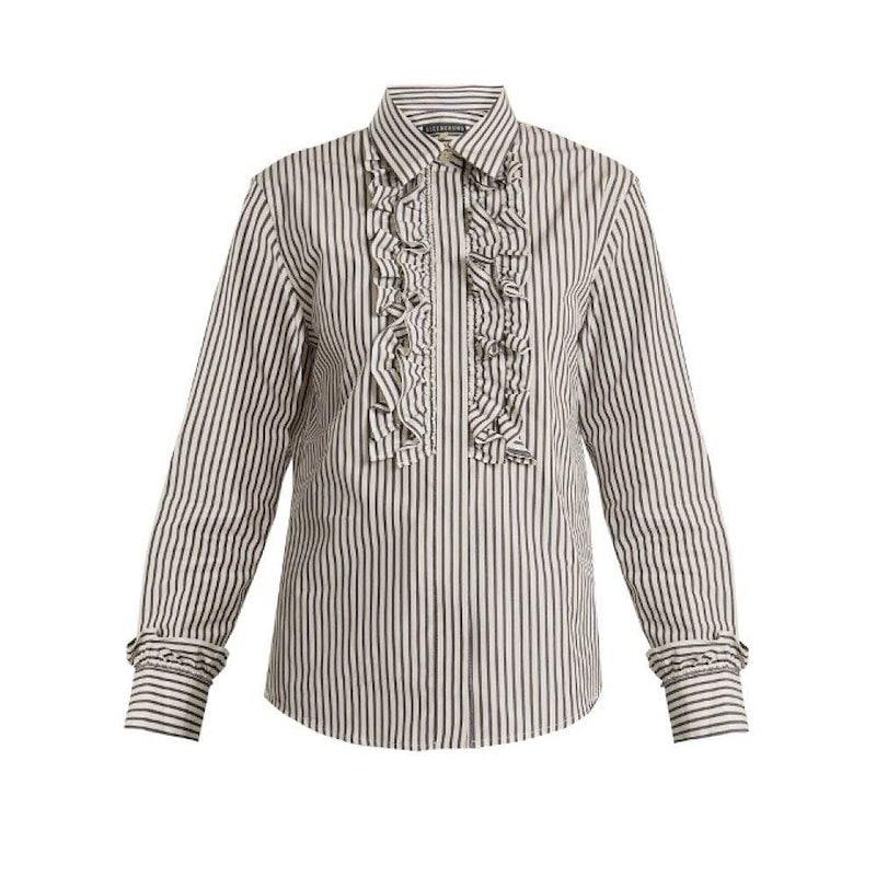 アレクサチャン レディース トップス ブラウス・シャツ【Ruffle-trimmed striped cotton shirt】Indigo-blue and white