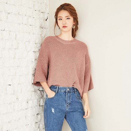 ナインNAINメタルルーズフィットニートT3758 ニット/セーター/ニット/韓国ファッション