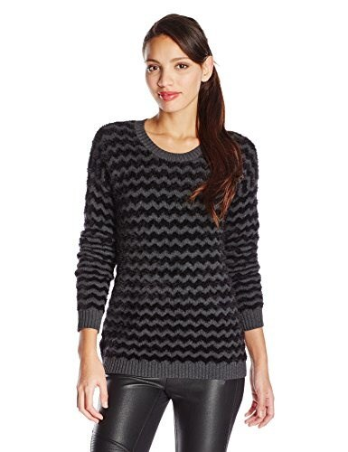 BCBGeneration Womens Textured Chevron Pullover,Charcoal Combo,Medium/Large