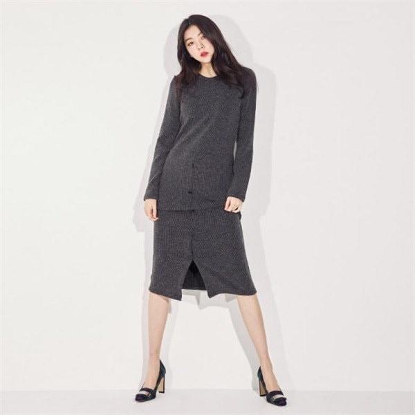 ボタンポイントワンピースJ92POP074new ニットワンピース/ワンピース/韓国ファッション