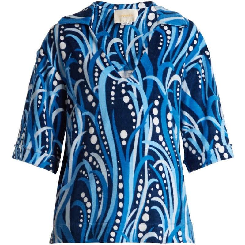 ラダブルジェー レディース トップス【The Terry cotton-blend top】Tonal-blue