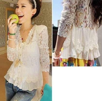 女性のためのファッションホワイトレースブラウスカーディガンCamisaのかぎ針編みのシャツロングスリーブRoupas Femininas Blusa