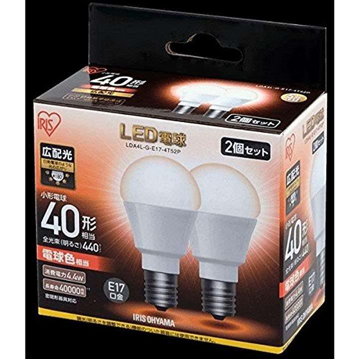 LDA4L-G-E17-4T52P ECOHiLUX LED電球 E17口金・40W相当・440lm・電球色 2個(1)電球色)