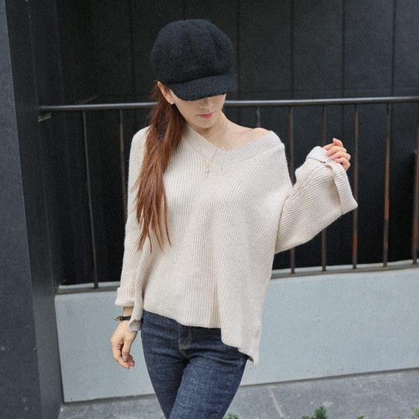 【海外直送】エッセンシャルVネックニット FREEサイズ 韓国ファッション レディースファッション