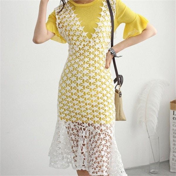 hlr07スターパンチングワンピースロングフリルティーシャツセットやフリルnewsrcLangTypeko 女性ニット/カーディガン/韓国ファッション