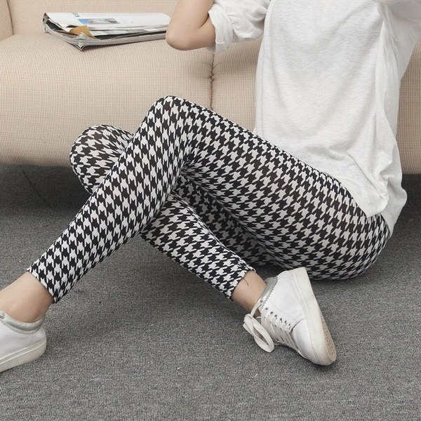 Women s Fashion Slim Elastic Houndstooth Geometric Printed Skinny Tights Spring Summer Thin Leggings