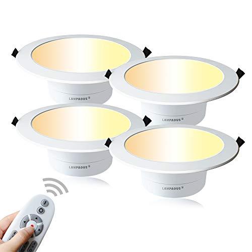 Lampaous 5w LEDダウンライト、埋め込み式天井灯、リモコン付き、調光&調色可能、4つのモード(3000k,4000k,6000k,ナイトライトモード)、無段階調光(4pcs)5w