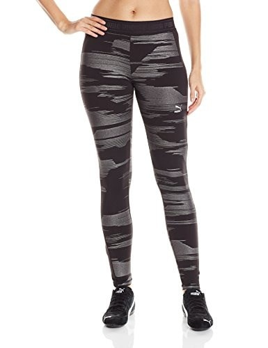 PUMA Womens Printed Leggings, Black/Metallic Print, X-Small