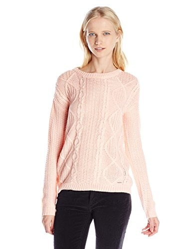 U.S. Polo Assn. Juniors Pattern Knit Bulky Pullover, Impatiens Pink, Small