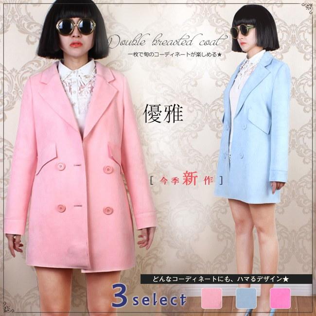 レディース服 女性 秋服 ダブルボタン ファッション コート アウター トレンチコート スイートカラー 大きいサイズ ゆったり ミドル丈 ガーリー 女の子 カジュアル