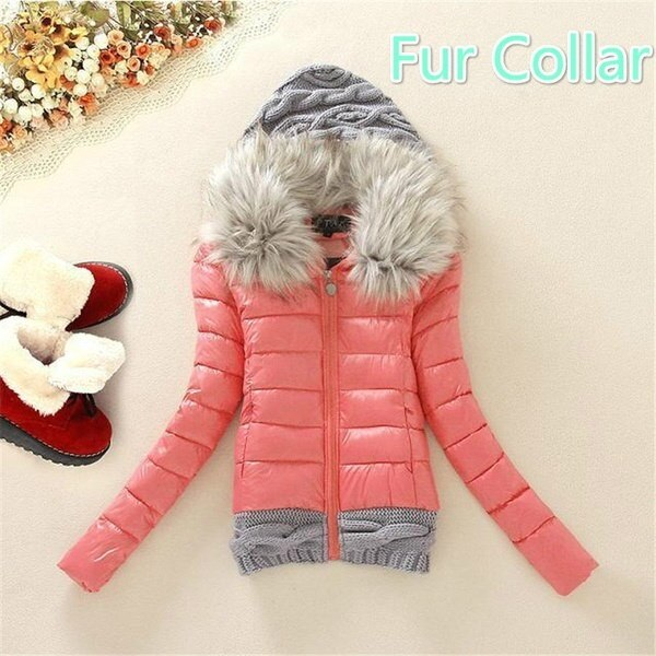 Winter Jacket Women 2017 Short Jacket Female Cotton Wool Stitching Women s Down Jacket Fur Collar Wi