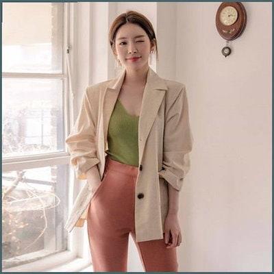 [クルロドゥマノン][クルロドゥマノン]清涼なベイジクピッリンネンジャケット /ジャケット/テーラードジャケット/韓国ファッション