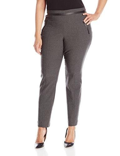 Rafaella Womens Plus-Size Printed Ponte Pant, Black, 16
