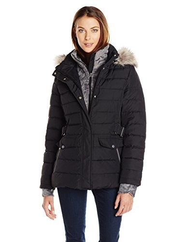 Free Country Womens Bib Down Quilted Jacket Solid 27 Inch, Black, Large