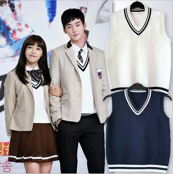 韓国生徒服 毛糸のチョッキ チョッキ ジレー不躾にゴーゴー 同人服 男子 女子服 学生ガッコ