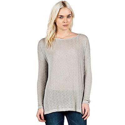 Volcom Juniors Free To Go Scoop Neck Pullover Sweater, Moonbeam, Medium