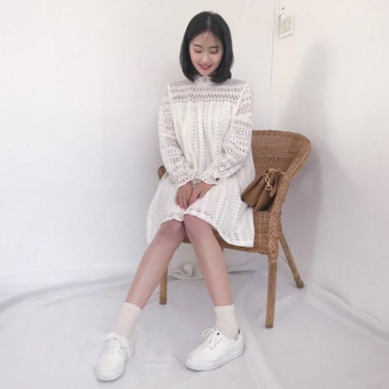 エイと非エルルレースのワンピース シフォン/レースのワンピース/ 韓国ファッション
