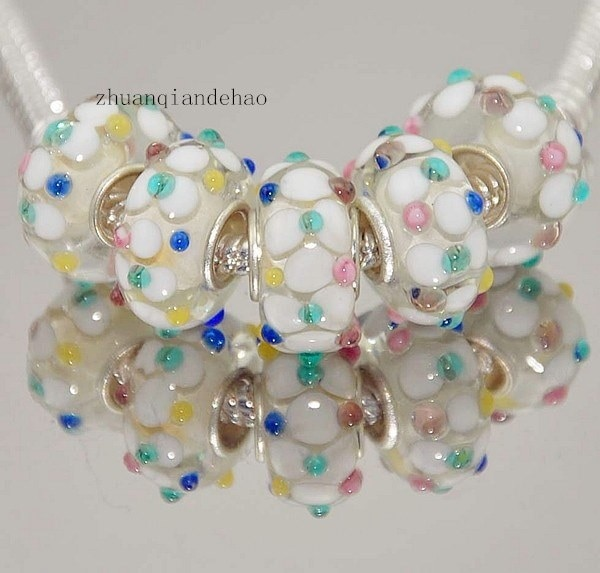 5本925シルバーメッキMURANO GLASS BEADフィットヨーロッパチャームブレスレット(カラー:Multicolor)