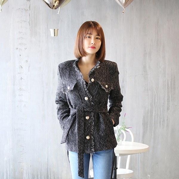 ツイードハーフジャケットnew 女性のジャケット / 韓国ファッション/ジャケット/秋冬/レディース/ハーフ/ロング/