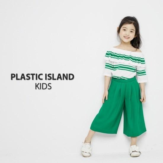プラストーリーKIDSオフショルダー・ストライプニートPH2KH464 ロングニット/ルーズフィット/セーター/韓国ファッション