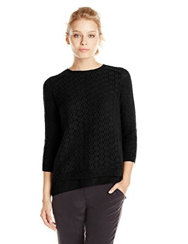 Lucky Brand Womens Mixed Media Pullover Sweater, Lucky Black, Small