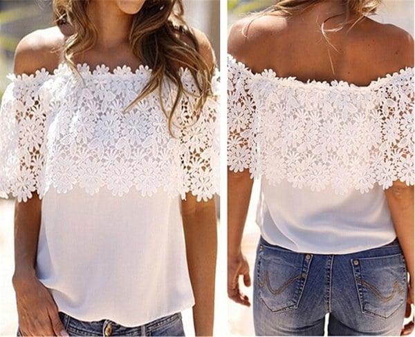 ファッションレディースショルダーカジュアルトップスブラウスレースのかぎ針編みのシフォンTシャツ