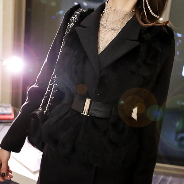 marlangrouge(韓国ファッション)[marlangrouge]ベルテッドラビットファーベスト