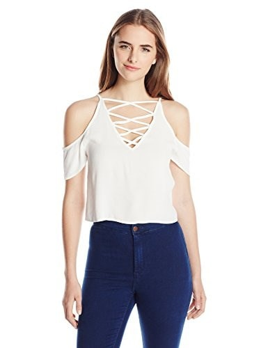 MINKPINK Womens Keep Cool Cross Neck Crop Top, White, Small
