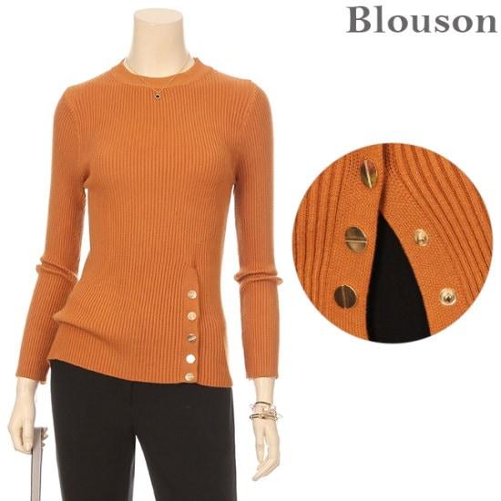 ブルルジョンブルルジョンゴールドボタンスリムニットB1712KN217D ニット/セーター/ニット/韓国ファッション