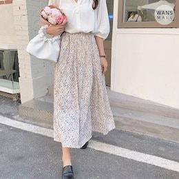 sk3718【wansmall】フラワーフレアスカート🌼春の新作🌸春の必須アイテム!女性らしさ全開のフェミニンロングスカート!/韓国ファッション/韓国コーデ