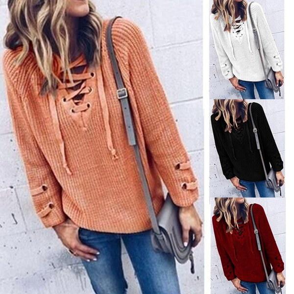 秋の新しいファッション女性セーターソリッドVネック包帯ロングスリーブボトミングルーズ女性のブロー編み