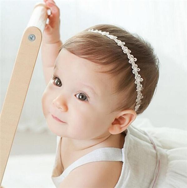 新生児で使用可能な、柔らかなヘアバンドに/ヘアアクセサリー ドレス パールレース ヘアバンド/赤ちゃん ヘアバンド ベビー 髪飾り/新生児髪飾り/撮影小物 記念写真/誕生日【管理番号:F609 】