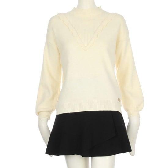 【A&C] [通常価格99,000、割引率51%] VフリルキュートラウンドニットENKT81104 ニット/セーター/タートルネック/ポーラーニット/韓国ファッション