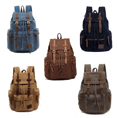 Men s Women s Vintage Canvas Backpack Rucksack Shoulder Bag Messener Schoolbag Satchel