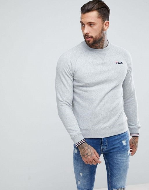 Fila Vintage Sweatshirt With Small Script In Gray