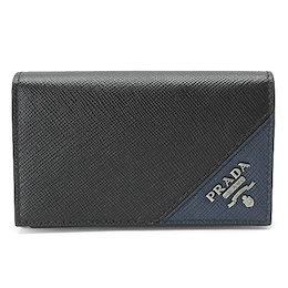 プラダ カードケース 2MC122 QME F0G52/SAFFIANO METAL NERO+BALTICO/GM PRADA サフィアーノメタル レザー ブラック×バルティコ/GM【ILB】