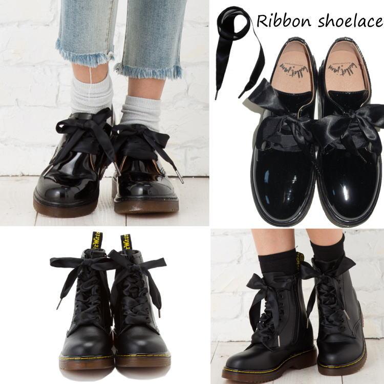 靴紐 くつひも 靴ひも 平紐 リボン 紐 サテン シューズ レースアップ ブーツ