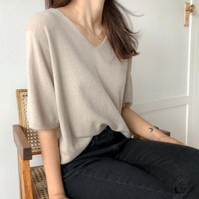 トップス レディースTシャツ2020新 半袖 vネックTシャツ だるい風垂感超仙氷糸カットブラウス ニット