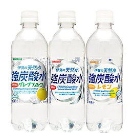 クーポン利用可能一部地域送料無料 強炭酸水も選べる5種類 サンガリア 伊賀の天然水 強炭酸水 炭酸水 プレーン レモン グレープフルーツ 500ml24本2ケース 48本セット