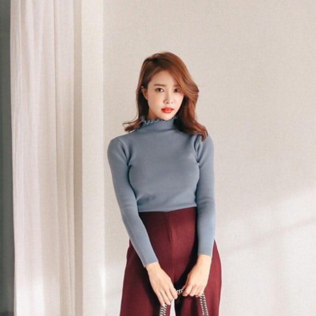 ベーシックスリムネックポーラ段ボールニットティーデイリールックデイリーバックkorea women fashion style
