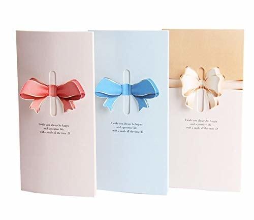 Kamizuki ポップアップカード リボン 3D 立体グリーティングカード 3枚セット 封筒付き メッセージカード クリスマス 新年 感謝 誕生日 バレンタイン 暑中見舞い 母の日 バースデー お祝
