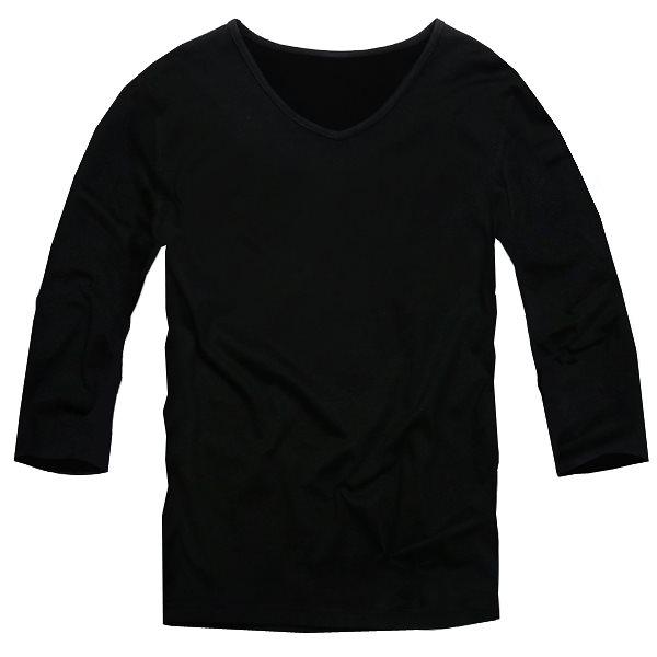 【f29】ブラック 全11色 伸縮素材で動きにフィット オフ使いも抜群のVネックtシャツ 第2ボタン開けでワル魅せ メンズ七分袖 細 タイト s m L XL 2L 3L【あす楽対応】新作 春 春服