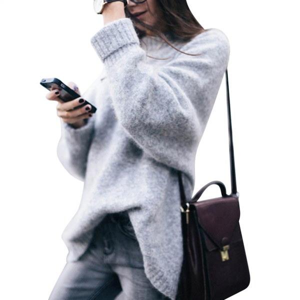 ファッションレディース長袖カジュアルルーズトップ厚手プルオーバーニットセーター