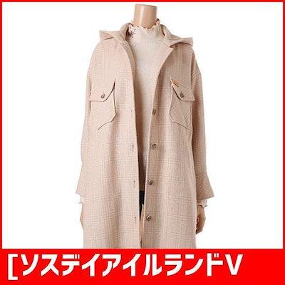 [ソスデイアイルランドVIP][女性]オボピッフードシングルチェックのシャツ型コート(T186MCT136W) /ハーフコート/コート/韓国ファッション
