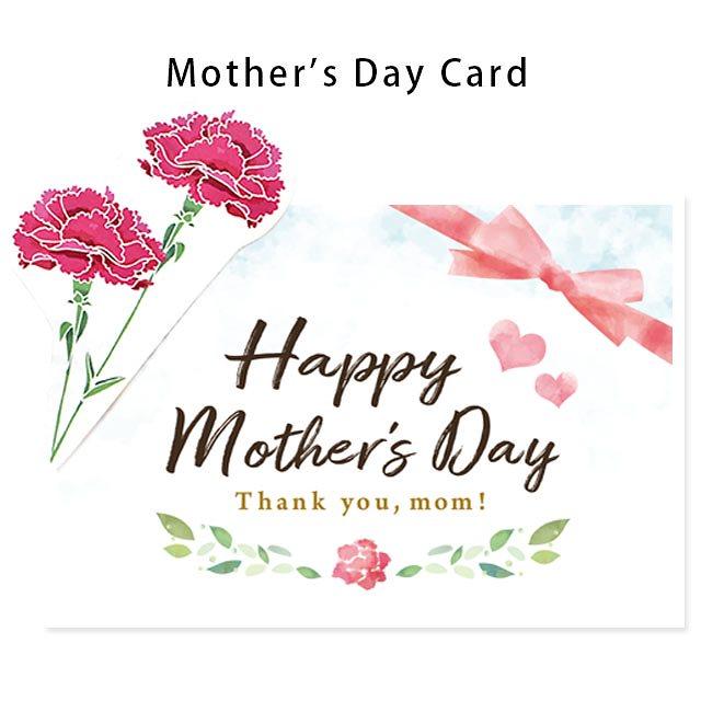 当店手作り♪ 母の日カード カーネーション ワンポイント付き 英語 Happy Mother s Day ★無料ラッピング付き★※こちらはメッセージカードではございません〔10F-CARD-MOM1〕