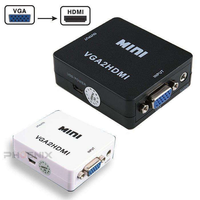 VGA to HDMI 変換 ミニD-Sub15ピンケーブル 電源 コンバーター 出力 変換器 変換アダプタ VGA2HDMI 2カラー