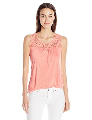 Blu Pepper Womens Full Laced Back Tank with Fishtail Hem, Coral, Large