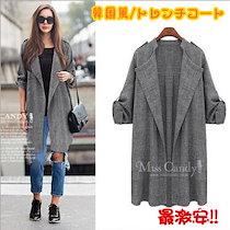 韓国風/コート/トレンチコート ゆったりコート ロング丈アウター 大きいサイズ レディースファッション コート アウター 体系カバー ロング アウター ジャケット 女性らしい