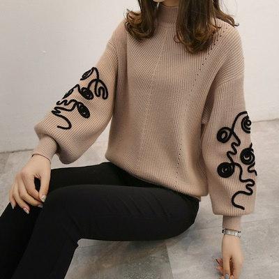 【韓国ファッション/レディースファッション】パフスリーブニット/韓国ファッション ニット/ハイネックセーター