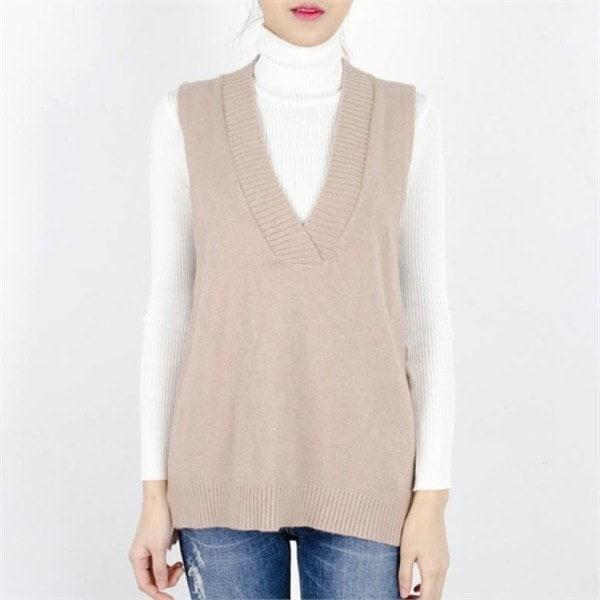 P5993ウール混ディープVネックオンバルニットベストnew 女性ニット/ニットベスト/韓国ファッション